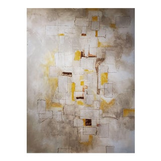 """2018 """"Reflections"""" by Louis Shields Abstract Yellow, Brown, and Gray Mixed-Media on Canvas"""