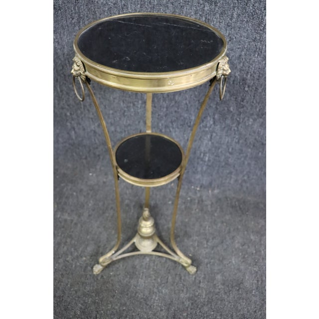 Traditional Regency Style Brass & Marble Gueridon Table For Sale - Image 3 of 8