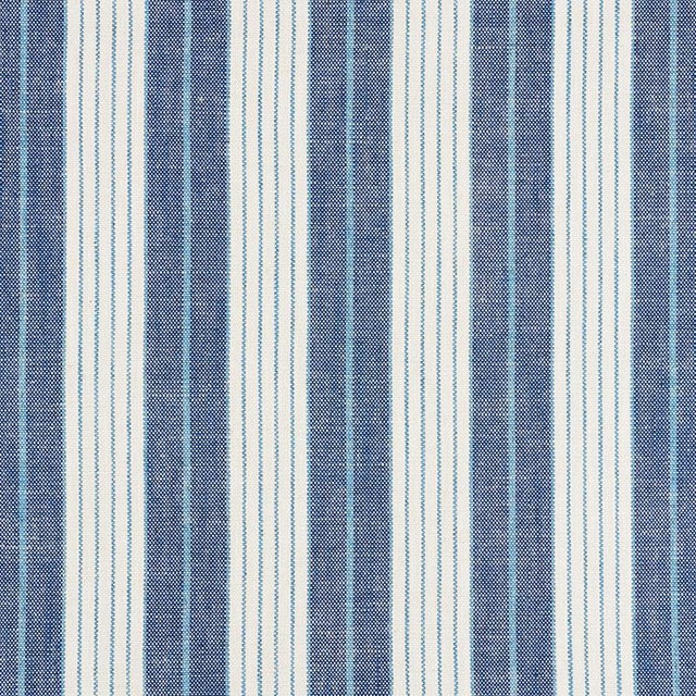 Contemporary Schumacher X Vogue Living Horst Stripe Fabric in Delft For Sale - Image 3 of 3