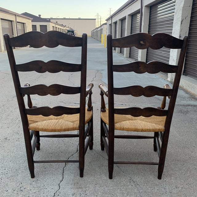 1980s Vintage French Provincial Ladder-Back Armchairs- a Pair For Sale - Image 9 of 13