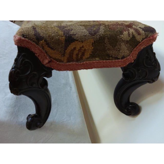 Antique Tapestry Footstool With Carved Mahogany Legs - Image 4 of 4