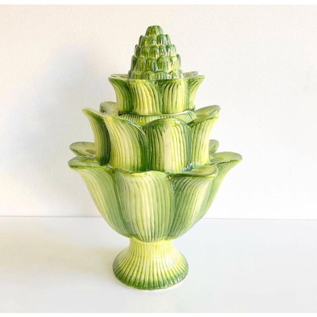Large Green Artichoke Style Tulipiere Vase For Sale - Image 10 of 10