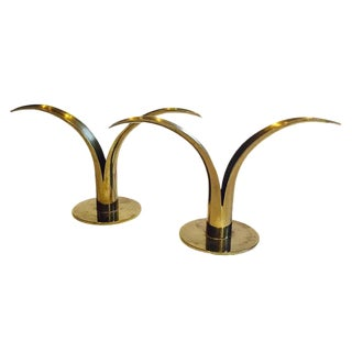 Mid Century Modern Brass Candlesticks Sculptural Swedish Lily - a Pair