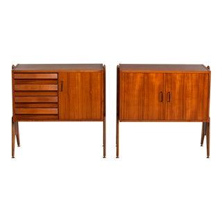 Pair Mid Century Italian Adjustable Height Teak Side Cabinets For Sale