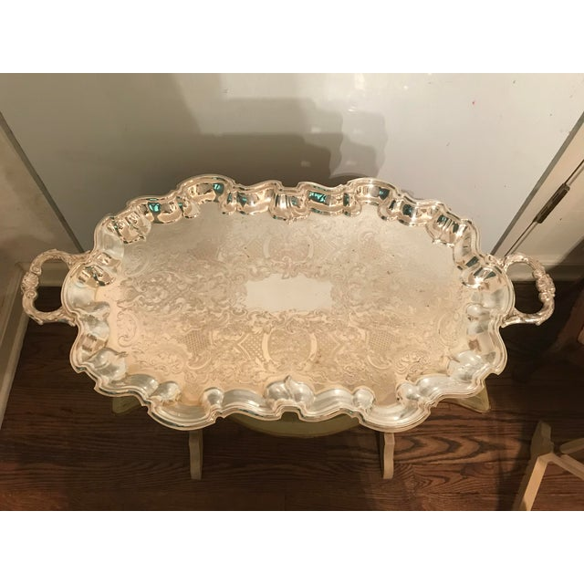 Poole Silver Co. Vintage Poole Silverplate Footed Scalop Tray For Sale - Image 4 of 13
