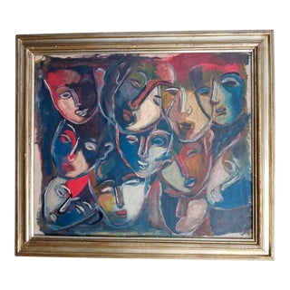 1970s Cubist Style Abstract Faces Oil Painting, Framed For Sale