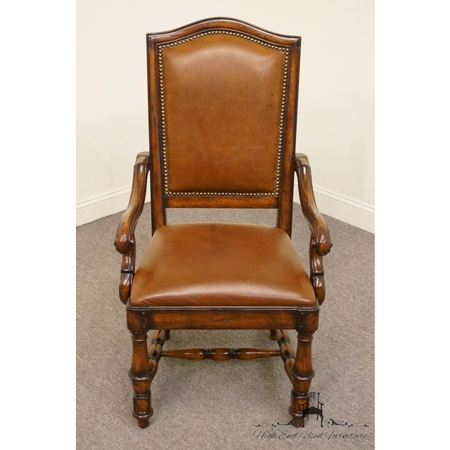 Federal Hooker Furniture Wynterhall Collection Leather Dining Arm Chair W. Nail Head Trim For Sale - Image 3 of 10