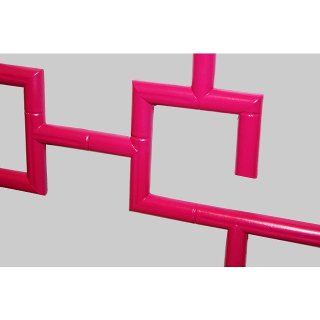 Vintage Magenta Chinoiserie-Style Greek Key Fretwork & Faux-Bamboo Wall Mirror For Sale In Naples, FL - Image 6 of 9