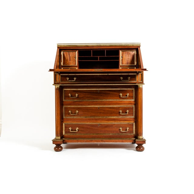 19th Century Mahogany Wood Gallery Top Drop Front Writing Desk For Sale - Image 4 of 13