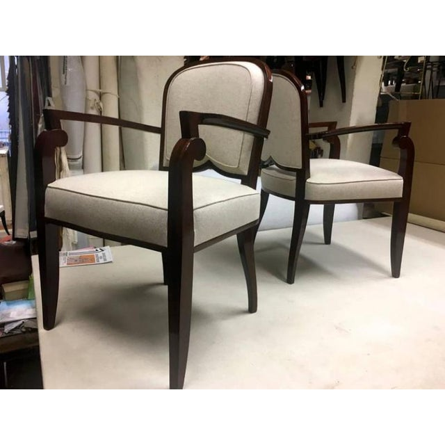 Rosewood Jules Leleu Chicest Rare Set of Six Dining Chairs Newly Covered For Sale - Image 7 of 8