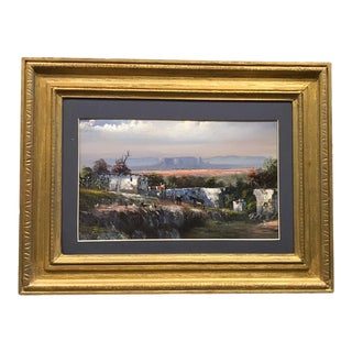 Mid 20th Century Mexican Homestead Landscape Oil Painting, Framed For Sale