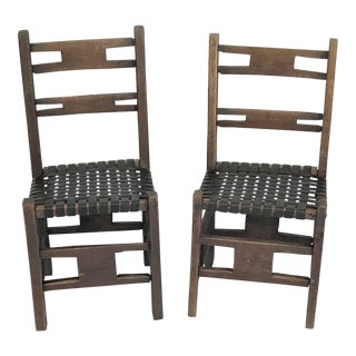 19th Century Rustic American Hand Crafted Farm Chairs – a Pair For Sale