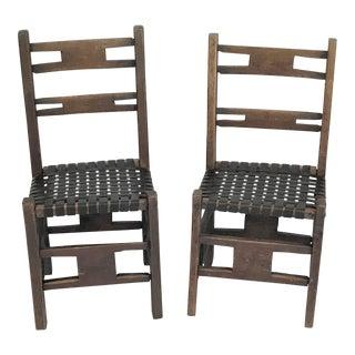 19th Century Rustic American Primitive Farm Chairs – a Pair