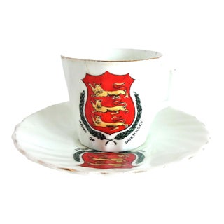 19th Century Antique Victorian English Hand-Painted Crested-Ware Demitasse Cup and Saucer, Guernsey For Sale