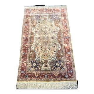 Contemporary Hereke Style 700 Kpsi Silk on Silk Rug For Sale