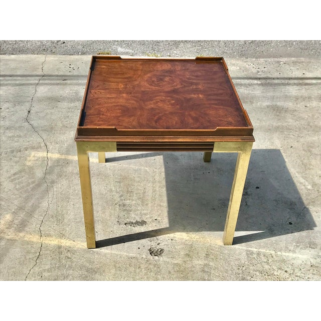 Vintage Drexel Heritage Connoisseur Burl Wood and Brass Leg Side Table For Sale In New Orleans - Image 6 of 12