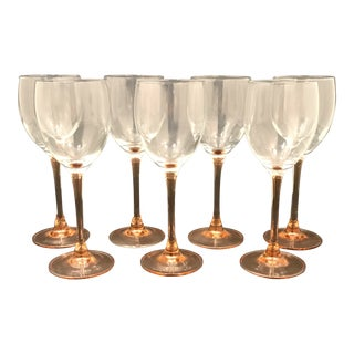1960s Mid-Century Modern Pink Stem Wine Glasses - Set of 7 For Sale