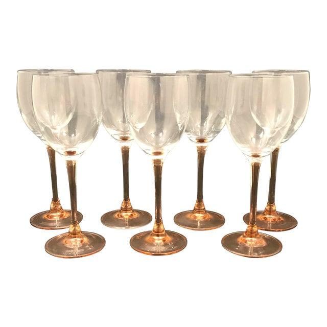 Vintage Luminarc Pink Stem Wine Glasses For Sale