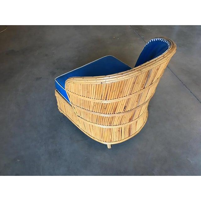 Rare Art Deco Shell Back Stick Rattan Lounge Chairs For Sale In Los Angeles - Image 6 of 10