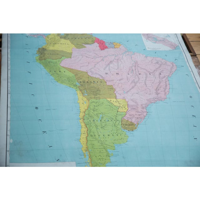 Antique circa 1900 school / classroom pull down map of South America by McConnell School Supply. Such beautiful colors and...