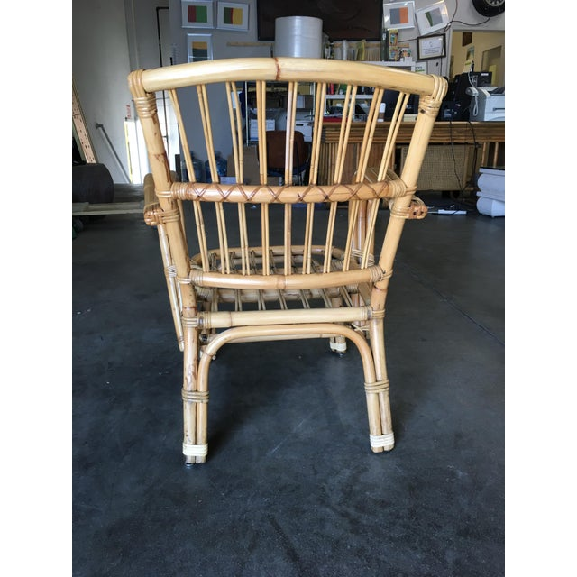 3-Strand Bentwood Rattan Armchair With Stick Rattan Back For Sale In Los Angeles - Image 6 of 10
