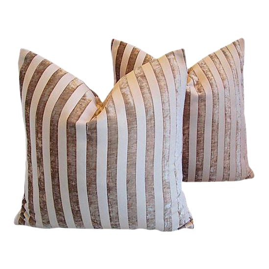 "White Designer French Velvet Striped Feather & Down Pillows 24"" Square - Pair For Sale - Image 8 of 8"