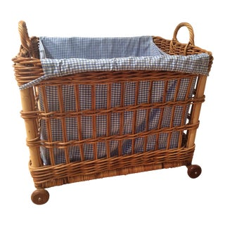 Pottery Barn Wicker Storage Basket with Gingham Insert