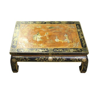 Chinese Brown Black Lacquer Scenery Kang Table Stand
