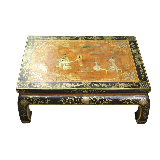 Chinese Brown Black Lacquer Scenery Kang Table Stand For Sale