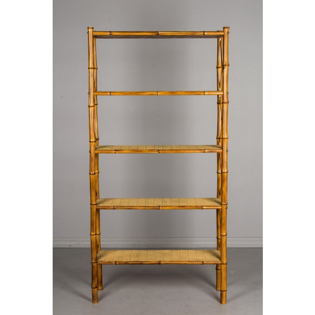 Adrien Audoux and Frida Minet Mid-Century French Bamboo & Rattan Etagere For Sale - Image 4 of 11
