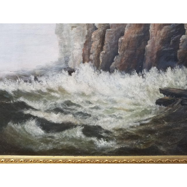 Paint Antique 1903 Seascape Oil Painting Cliff & Waves For Sale - Image 7 of 12