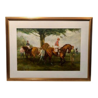 """Late 20th Century """"Point to Point at Winthertur"""" Equestrian Painting, Framed For Sale"""