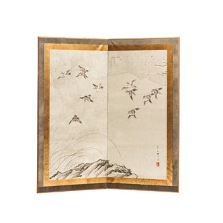 "1990s Sung Tze-Chin Chinese ""Magpies in Flight"" Two-Panel Screen Silk Hanging For Sale"