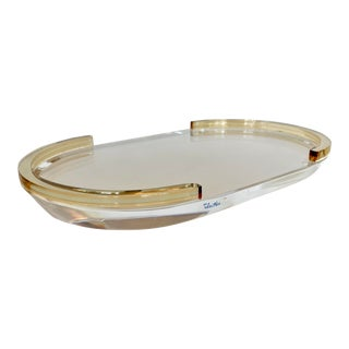 Oval Vanity Lucite Tray Form 80's For Sale