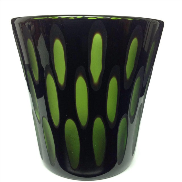 Venini Green & Amethyst Faceted Vase - Image 3 of 3