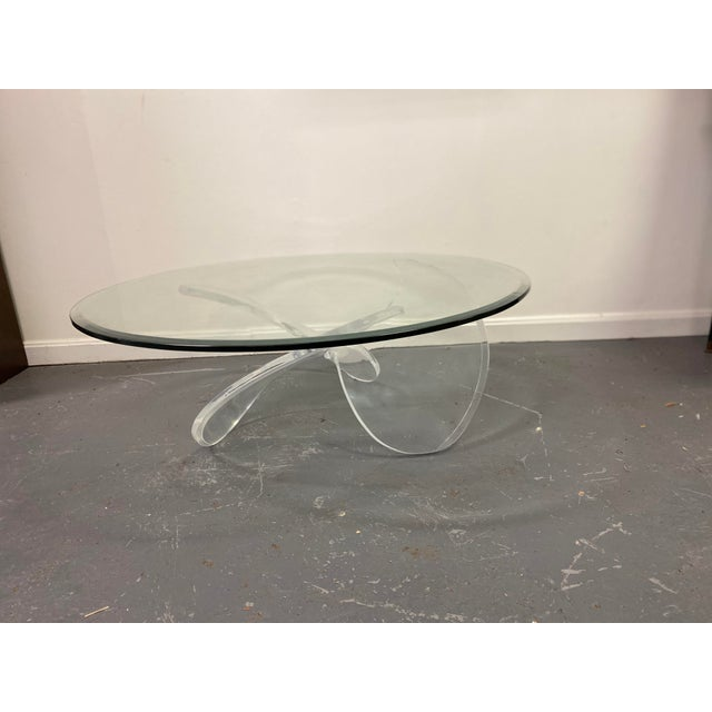 Mid Century Lucite Propeller Base With Glass Top Table For Sale - Image 4 of 6