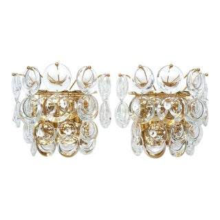 Palwa Pair Delicate Gold Plated Brass and Crystal Sconces Wall Lamps, 1960 For Sale