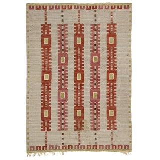 Vintage Mid-Century Swedish Kilim Röllakan Flat-Weave Rug - 5′8″ × 8′ For Sale