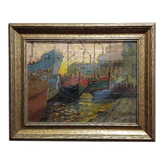 Boats in a Crowded Port -Oil Painting on Canvas -C1930s For Sale