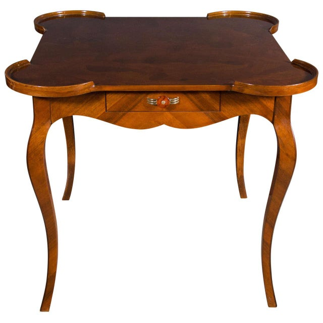 Exceptional Art Deco Game Table With Exotic Burled Walnut Inlay For Sale - Image 11 of 11