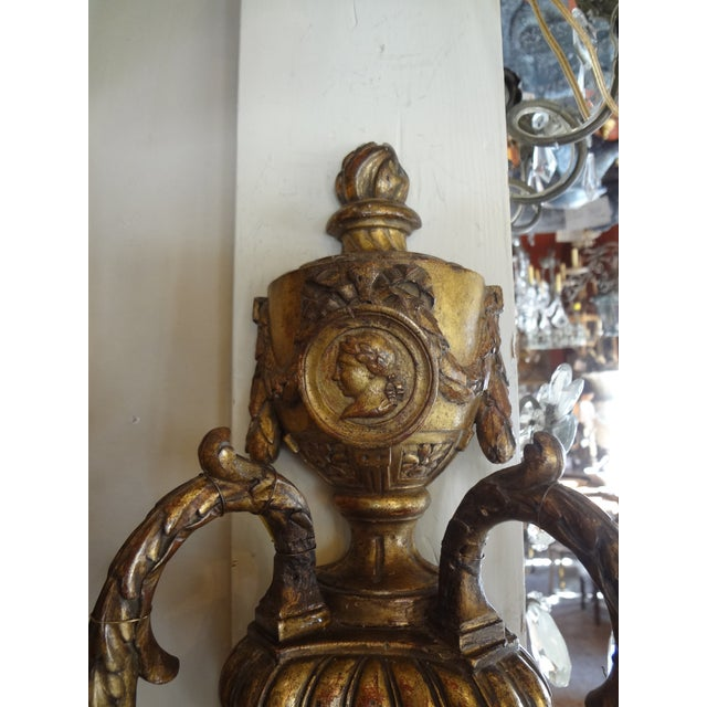 Louis XVI Style Pair of Gilt Wood Sconces For Sale - Image 10 of 11