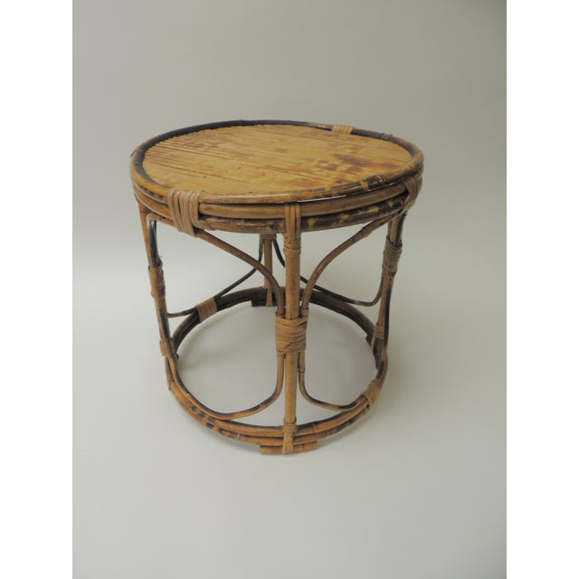 1970s Vintage Bamboo Round Low Side Table For Sale - Image 5 of 5