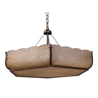 Madcap Cottage Frosted Art Deco Pendant Light For Sale