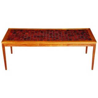 1960s Danish Teak Coffee Table With Red Tile-Top For Sale