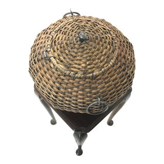 Vintage Mid-Century Woven Cobra Basket For Sale