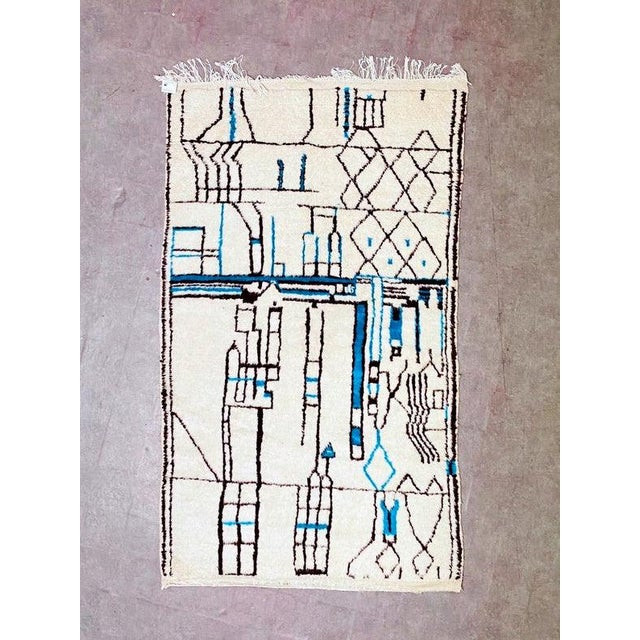 Authentic Berber Morocco Wool Beni Ourain Hand Knotted Rug For Sale - Image 11 of 11