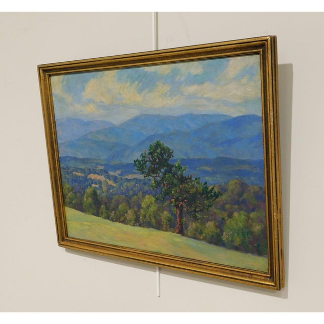 """Edward Walker Oil Painting on Canvas """"Mt. Moosalamoo, Green Mountains North of Brandon"""" For Sale - Image 4 of 13"""