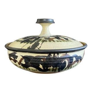 Mid-Century Stoneware Robert Sperry Covered Bowl Casserole Signed and Dated 1961 For Sale