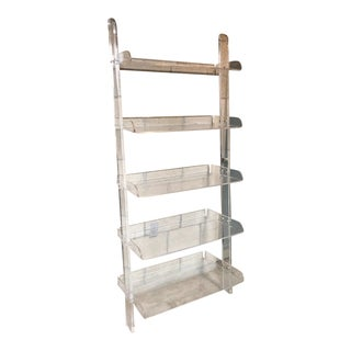 20th Century Contemporary Acrylic 5-Tier Ladder Bookcase For Sale