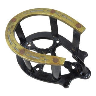 Antique Cast Iron & Brass Horse Tack Hanger For Sale